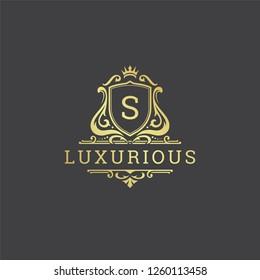 Luxury logo monogram crest template design vector illustration. Royal brand vintage vignette ornaments.