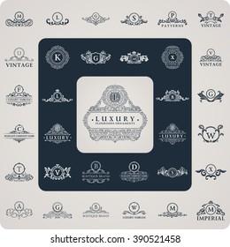 Luxury logo monogram. Vintage royal flourishes elements. Luxury ornament element. Calligraphic symbol. Letter L, B, V, G, A, S, K, X. Design luxury logo frame set. Vector pattern flourishes emblem set