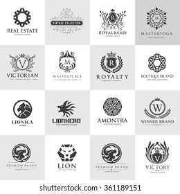 Luxury logo set, Best selected collection,Hotel, crest, Lion head, Vector brand identity.