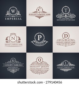 Luxury logo set. Calligraphic pattern elegant decor elements. Vintage vector ornament Signs and Symbols. The Letters W, C, T, N, P, D, U, Q, L