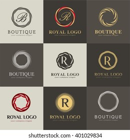 Luxury logo set. A collection of logos for products recommended luxury boutiques, hotels, cosmetics, SPA.