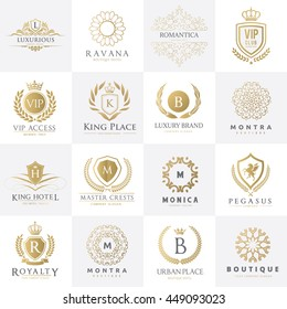 Luxury logo set design for Boutique hotel,Resort,Restaurant, Fashion, VIP, Club, education brand identity.