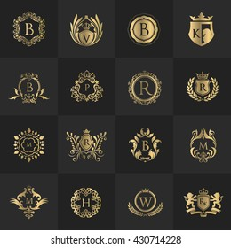 Luxury Logo set with Heraldic crests and Flourishes Calligraphic Monogram design for hotel,Spa,Restaurant,VIP,Fashion and Premium brand identity.