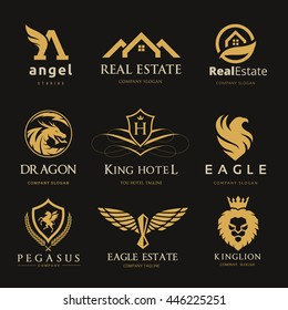 Luxury Logo Set for Real Estate, Eagle, dragon, horse, lion, pegasus,   hotel , Vector brand identity