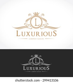 Luxury logo template, Brand identity for hotel, fashion and real estate