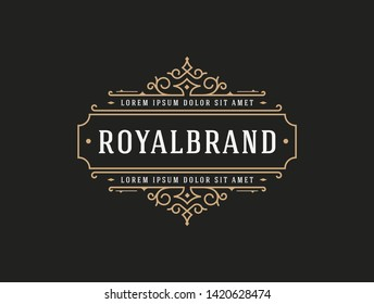 Luxury Logo template flourishes calligraphic elegant ornament lines. identity for Restaurant, Royalty, Boutique, Cafe, Hotel, Heraldic, Jewelry, Fashion and other vector illustration - Vector