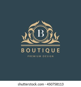 Luxury Logo template flourishes calligraphic elegant ornament emblem. Letter B. Business sign, identity for Restaurant, Royalty, Boutique, Hotel, Heraldic, Jewelry, Fashion, Cafe. Vector illustration