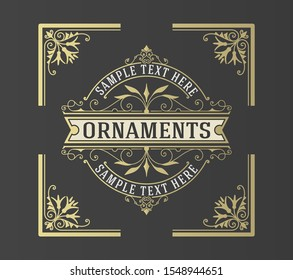 Luxury Logo template flourishes ornament lines. Business identity for Restaurant, Royalty, Boutique, Cafe, Hotel, Heraldic and other. Vector layered