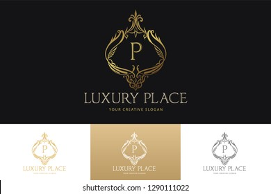 Luxury Logo Template  with Luxurious Golden monogram crest  and baroque style design for wedding invitation, Hotel, Boutique brand identity. Vector Illustration.