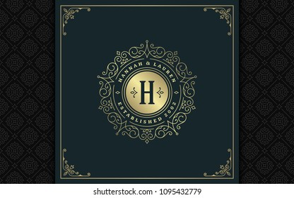 Luxury logo template vector golden vintage flourishes ornament. Good for royal crest, boutique brand, wedding shop, hotel sign. Frame and pattern background.