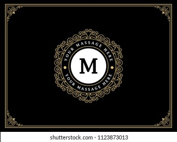 Luxury logo template vector golden vintage flourishes ornament. Good for royal crest, boutique brand, wedding shop, hotel sign, Fashion and other vector illustration