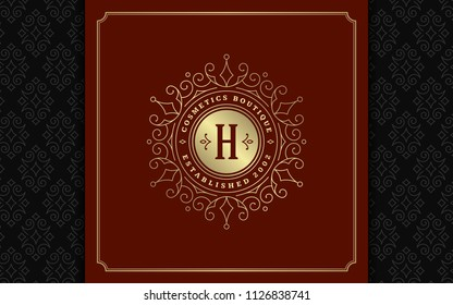 Luxury logo template vector golden vintage flourishes ornaments. Good for royal crest, boutique brand, wedding shop, hotel sign. Frame and pattern background.