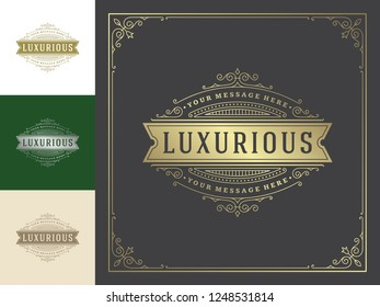 Luxury logo template vector vintage flourishes ornaments. Good for royal crest, boutique brand, hotel sign with flourish frame luxury template.