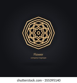 Luxury logotype in the shape of a flower for antique boutique. Gold logo, flower. Simple geometric sign. Icons, business, invitations. Volumetric golden big bud. Vintage. Islam, Arabic, Indian. Retro.