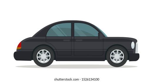 Luxury long sedan, cartoon style. Rental limousine. Side view. Isolated on white background.
