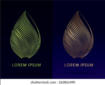 Luxury Lotus, Abstract Architecture, Construction, Leaf shape ,designed using green and gold line,logo, symbol, icon, graphic, vector.