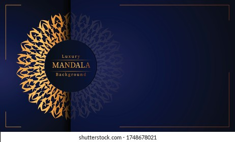 Luxury mandala background with golden arabesque pattern arabic islamic east style for wedding invitation, book cover.