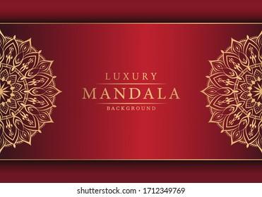 Luxury Mandala Islamic Background with Golden Arabesque Pattern, Ornamental Background . Wedding card, Cover.