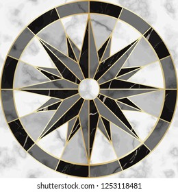 Luxury marble compass sign seamless pattern. Repeat marbling surface with gold geometric elements, modern luxurious background, wallpaper, textile print and tile.