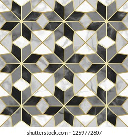 Luxury Marble Mosaic Star Tile Seamless Pattern