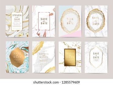 Luxury Marble Wedding Invitation Cards collection design with Geometric shape floral  and  golden texture decoration Vector illustration.