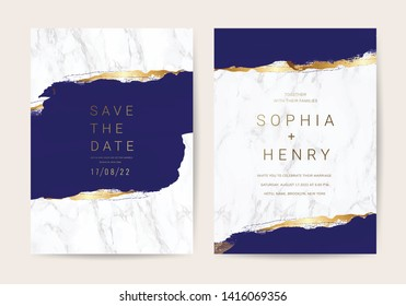 Luxury Marble Wedding invitation cards, Save The Date card design with Navy blue and gold brush decoration style- Vector