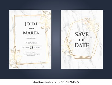 Luxury Marble Wedding invitation cards with gold geometric polygonal lines vector design template. eps10