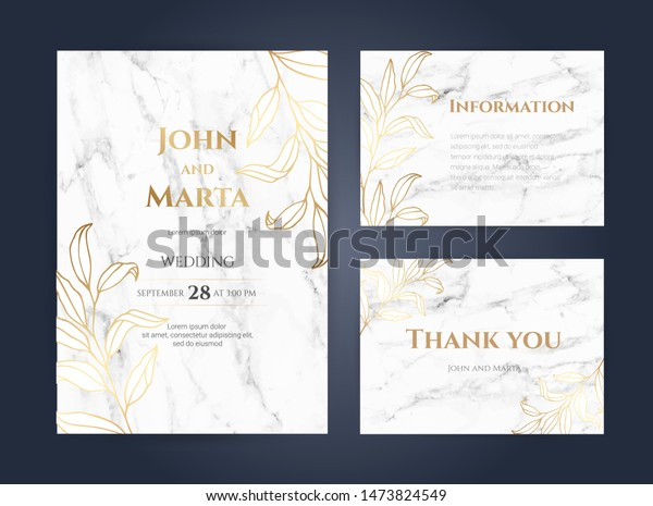 Luxury Marble Wedding Invitation Cards Gold Stock Vector (Royalty ...