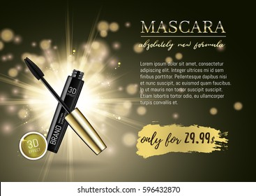 Luxury mascara ads, black and gold package with eyelash applicator brush with mascaras stroke palette on VIP shine glitter background. Vector 3d realistic illustratrion.