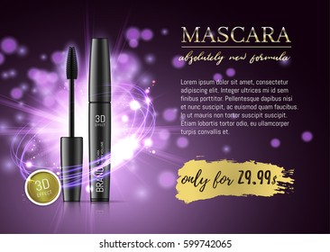 Luxury mascara ads, black and purple package with eyelash applicator brush with mascaras stroke on VIP shine glitter background. Vector 3d realistic illustratrion.