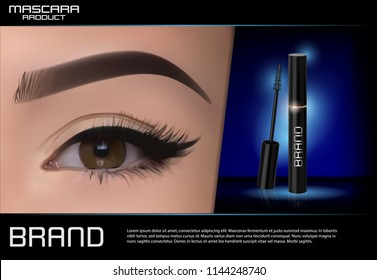Luxury mascara ads,with bright left eye, eyelash and colorful brushes for advertising use,black and golden package with streamline background illustration vector design.