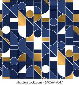 Luxury masculine marine blue and gold geometric outline shapes seamless pattern. Retro line geometry 70s chic repeatable motif for fabric, background, surface design, textile. Tile rapport vector