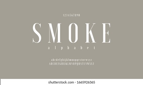 Luxury minimal classic modern typeface typo typography alphabet fonts and number, uppercase lowercase and number. Vector illustration with smoke color background.