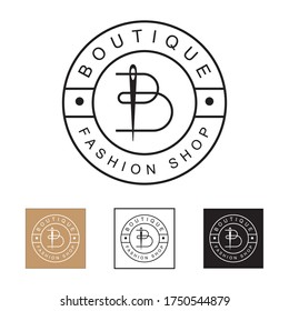 luxury and minimalist line art Boutique fashion store logo, initial letter B with needle logo concept vector template