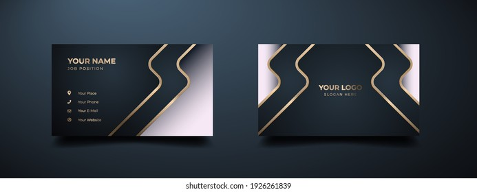 Luxury modern business card print template. Creative and clean executive business class. Elegant premium design with dark background and white, golden lines effect.