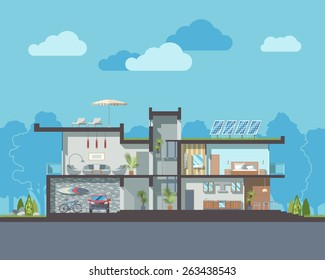 Luxury modern residential two-storied house vector section with detailed furnished rooms interior.Minimalistic eco-friendly architecture reusing energy and reserving nature resources flat illustration