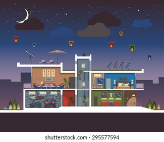 Luxury modern residential two-storied house vector section at night with detailed furnished rooms interior.Minimalistic architecture reusing energy and reserving nature resources flat illustration