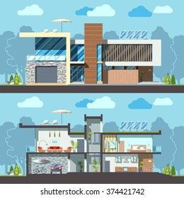 Luxury modern residential two-storied house facade and detailed furnished interior section. Minimalist Eco-friendly architecture reusing energy, reserving nature resources flat vector illustration