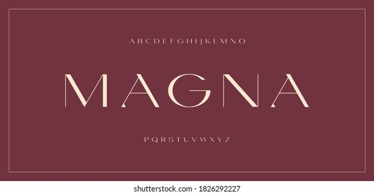 Luxury modern sans serif font, elegant contrast extended clean letter set magna typeface - Shutterstock ID 1826292227