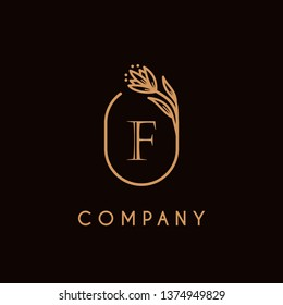 luxury monogram letter F logotype with flower icon concept. premium elegant alphabet/initial frame design vector. can be used for beauty industry, cosmetics, salon, boutique, company, corporate