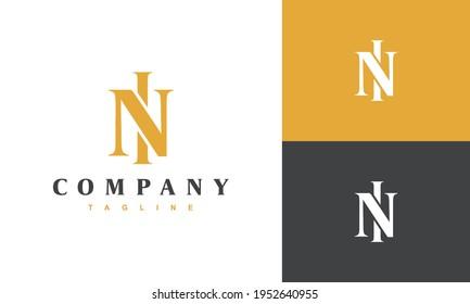 luxury monogram letter NI logo