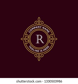 luxury monogram letter R logotype. premium brand icon. elegant alphabet/initial frame design vector. can be used for beauty industry, cosmetics, salon, boutique, spa, company, corporate, etc.