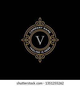 luxury monogram letter V logotype. premium brand icon. elegant alphabet/initial frame design vector. can be used for beauty industry, cosmetics, salon, boutique, spa, company, corporate, etc