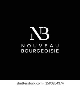 Luxury monogram logo design of letter N and B with black background - EPS10 - Vector.