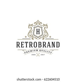 Luxury monogram logo template vector object for logotype or badge Design. Trendy vintage royal ornament frame illustration, good for fashion boutique, alcohol or hotel brand.