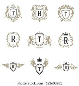 luxury monogram logos templates vector objects stock vector royalty