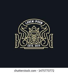 Luxury Monogram Seahorse  Logo Template