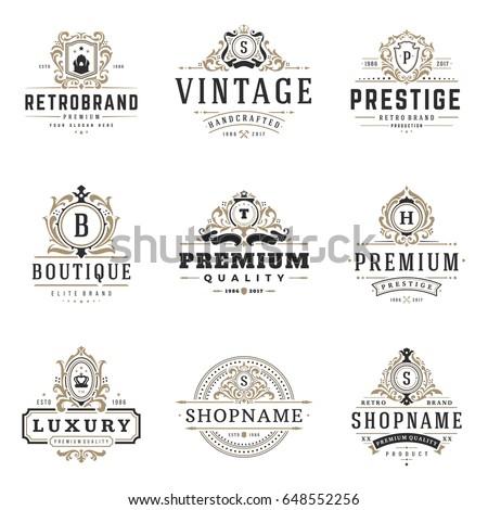 luxury monograms logos templates vector objects stock vector