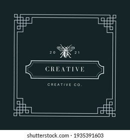 Luxury name tag design with insects logo and artistic square frame