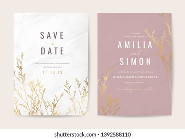 Luxury Natural Wedding invite Card for summer and spring seasons. Design With gold leaves minimal style decoration. Vector